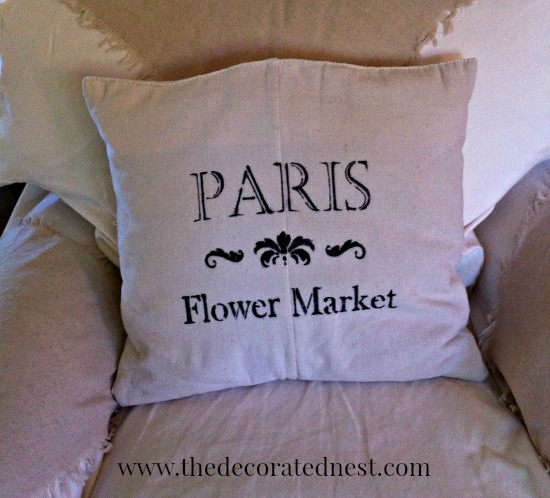 paris-sharpie-stencilled-pillow- sharpie marker & paint pen projects-www.nesteddesigncompany.com