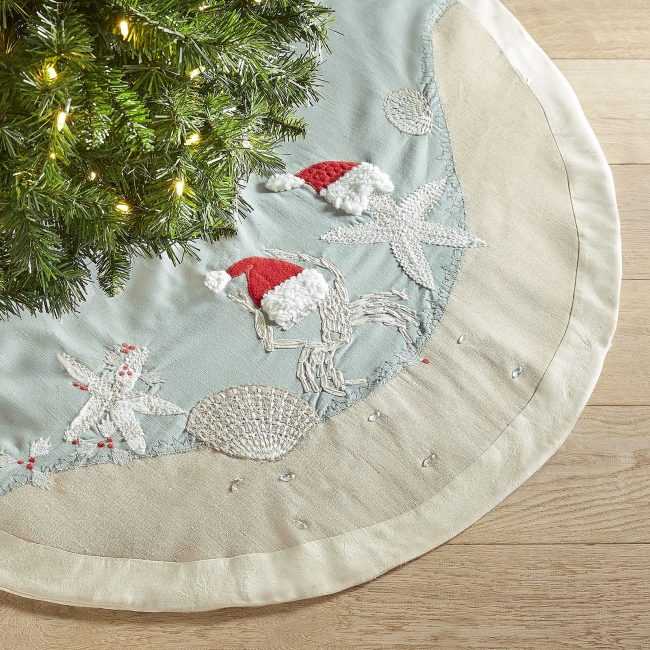 Beach inspired Christmas Tree skirt with crabs and starfish in Santa hats