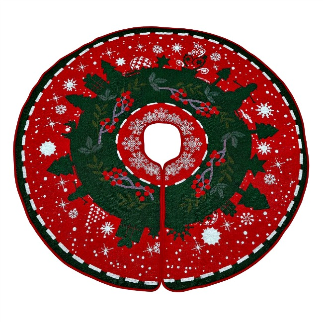 Vintage look red , green & white tree skirt