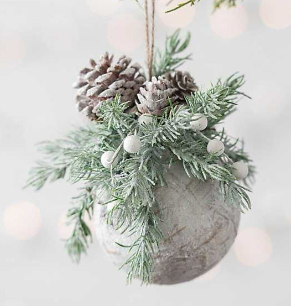 Rustic birch ball & pine cone ornament
