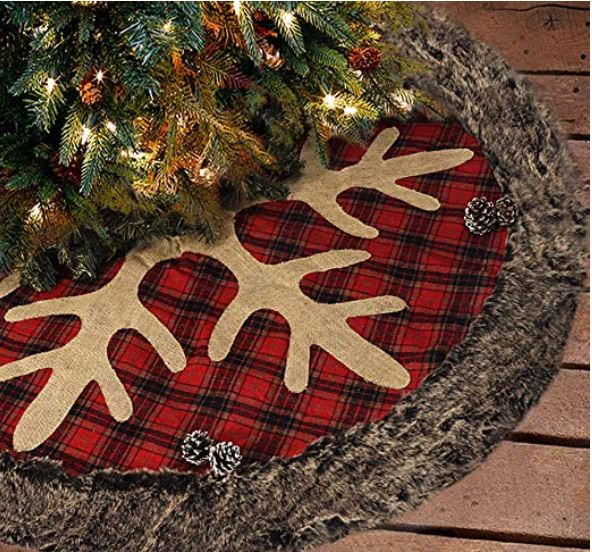 FUR TRIMMED PLAID & ANTLER TREE SKIRT