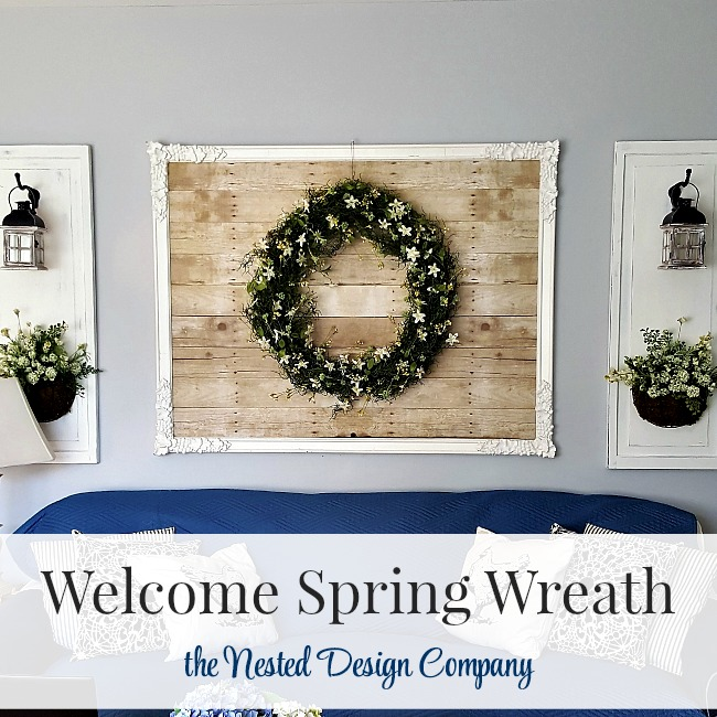 Make a Spring Wreath and hang on a papered mirror