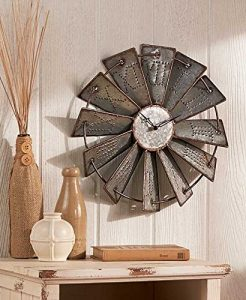 Metal Windmill Rustic Country Primitive Clock wall decor-farmhouse finds-www.thedecoratednest.com