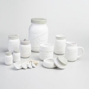 White Mason Jar Cookie Jar-farmhouse decor finds-www.thedecoratednest.com