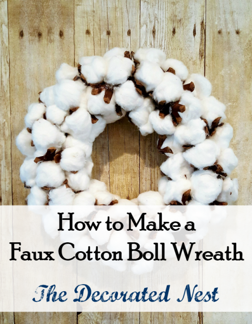 Faux Cotton Boll Wreath Tutorial-www.nesteddesigncompany.com