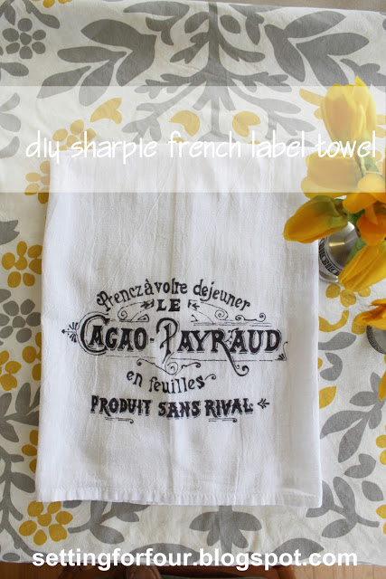french tea towel setting for four-Sharpie Paint Pen & Marker Projects-www.nesteddesigncompany.com