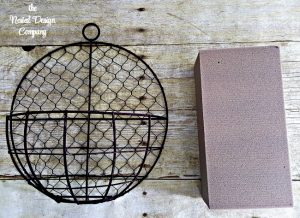 wire wall basket and floral foam-how-to-make-a-candle-lantern-wall-sconce