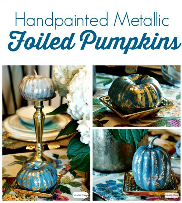 Metallic Foiled Pumpkins from Atta Girl Says-20-fall-pumpkin-ideas-to-make-or-buy-www.nesteddesigncompany.com