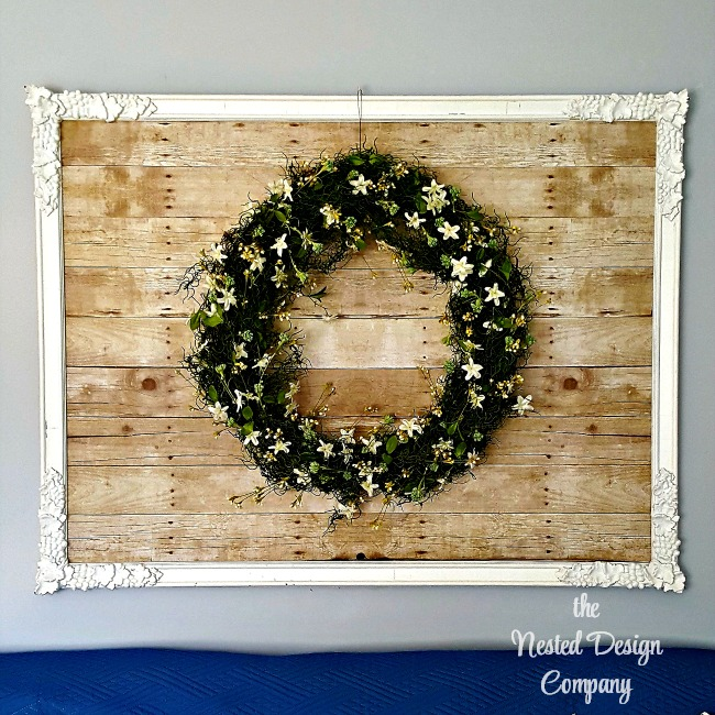 Using pallet wood-look paper to repurpose a mirror or ugly artwork. Nobo