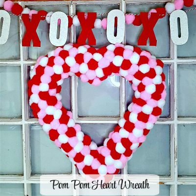 Make a Pom Pom Valentine Heart Wreath!