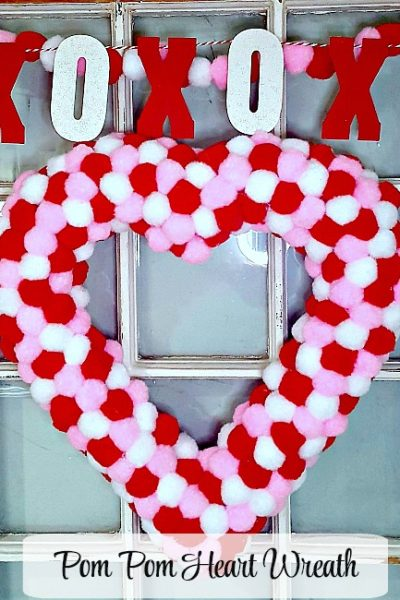 Make a Valentine Heart Pom Pom Wreath