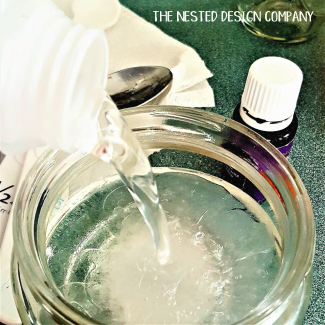 add distilled water to make homemade makeup remover pads