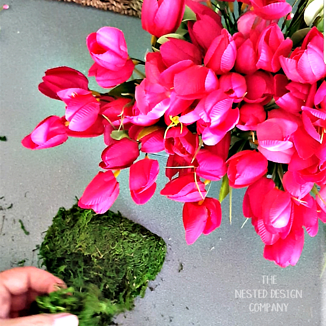 Adding moss to you spring tulip decor