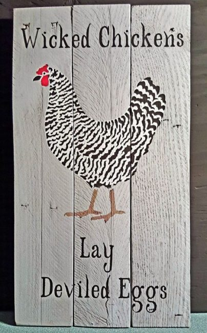 handmade wicked chickens sign