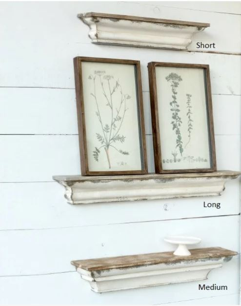 Distressed farmhouse picture ledge shelf