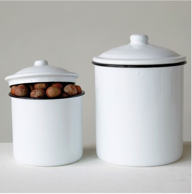 ENAMELWARE KITCHEN CANISTERS