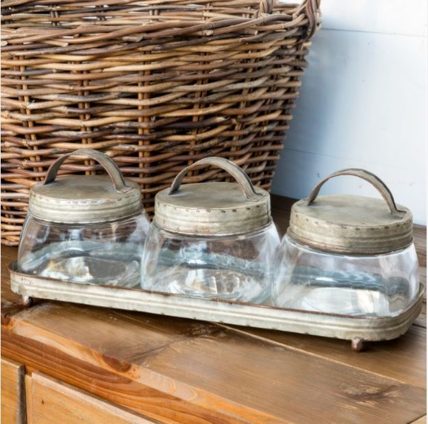 Galvanized tfarmhouse ray with glass jars organizer