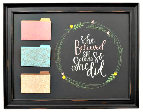 Chalk Couture Board with She Believed she could transfer