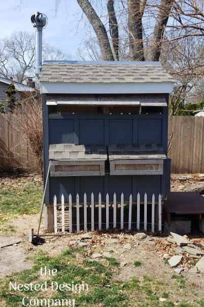nesting boxes on the side of the coop make great playhouse cubbies