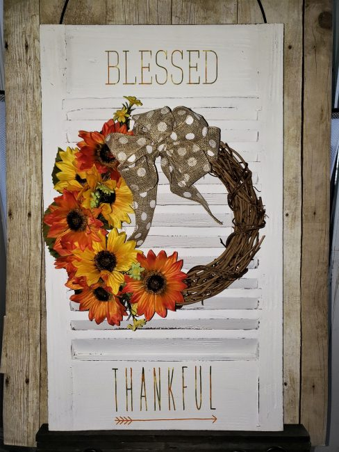Upcycled Shutter with Wreath and Thankful Blessed