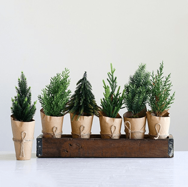 Paper wrapped Faux Trees set of 6
