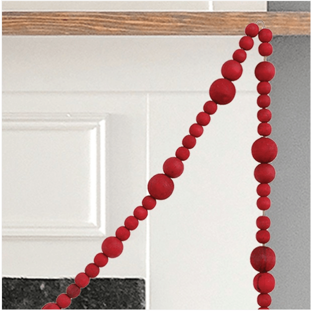 Festive Red Wood Bead Garland Set of 2