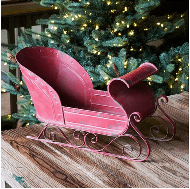 Red Scroll Metal Sleigh