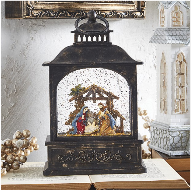 Light up glittery Nativity Lantern
